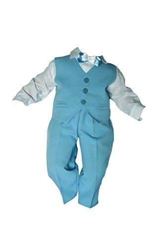 Taufanzug Baby Junge Kinder Kind Taufe Anzug Hochzeit Anzüge Festanzug, 4tlg , Blau-Weiß Größe 68