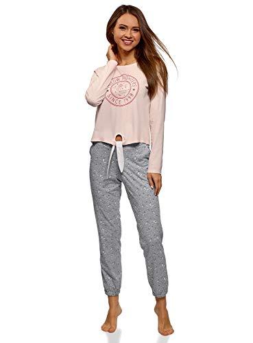 oodji Ultra Mujer Pijama de Algodón con Pantalones, Rosa, ES 38 / S
