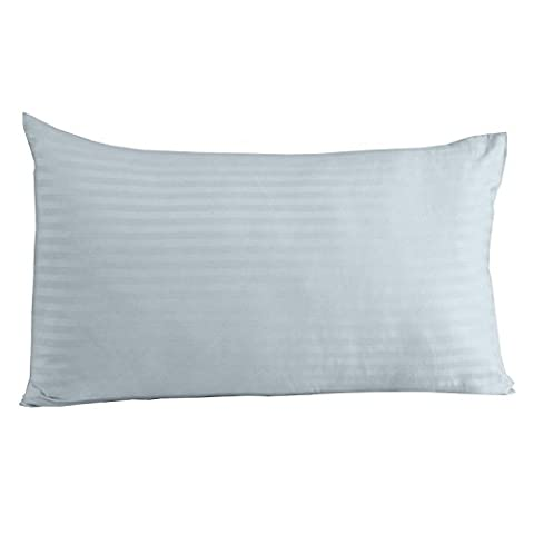 Homescapes 100% Egyptian Cotton Housewife Pillowcase Blue Satin Stripe 330 Thread Count Percale Anti Dust Mite