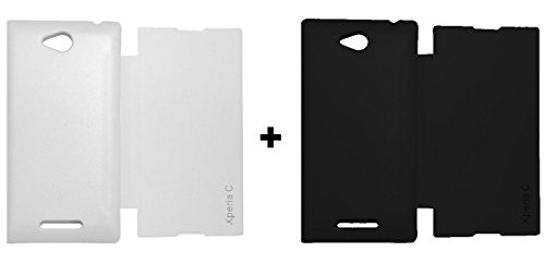 Combo of Sony Xperia C White and Black Flip Cover Premium Leather Flip Flap Diary Folio Leather Premium Rich Case Cover (White and Black)