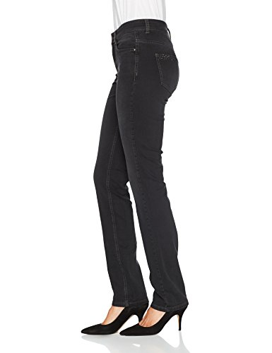MAC Damen Straight Jeans Angela City Glam Grau (Anthrazite Dark Grey Used D961)
