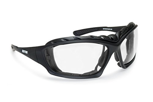 Bertoni occhiali fotocromatici sportivi antivento avvolgenti per moto sci skydiving sport estremi - aste ed elastico intercambiabili - lenti antiappannanti by italy (f366a)
