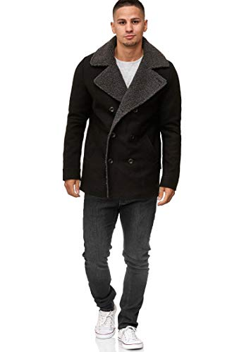 Indicode Herren Basire Winter Wollmantel Jacke Mantel Black S - 4