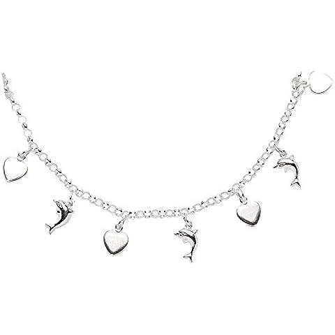 Delfino/cuore–Collana per bambini ciondolo in argento Sterling 92536,5cm