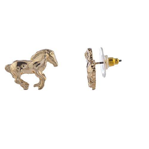 LUX Zubeh?r Gold Ton Pferd Equestrian Post Ohrstecker Ohrring