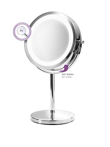 Medisana CM 840 Kosmetikspiegel mit LED Beleuchtung, normal und 5-fache Vergrößerung, 13 cm Durchmesser, 18 LEDs, verchromt - 3