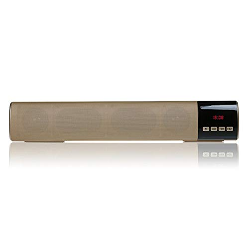 YSCYLY Bluetooth-Lautsprecher Tragbare HiFi-Anlage Wireless Soundbar 10 Watt PC TV Sound Box Bar Woofer Subwoofer Musik MP3-Player Radio Boombox,Gold