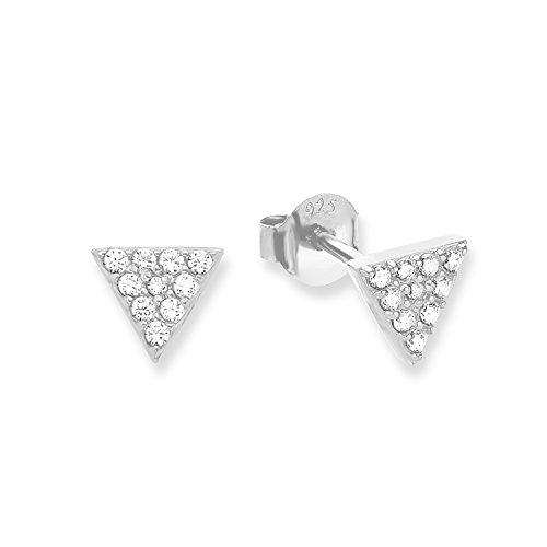 s.Oliver Damen-Ohrstecker Dreiecke Geometrie 925 Silber rhodiniert Zirkonia weiß-2012612