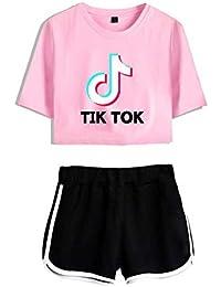 Tops Corto y Pantalones Cortos para Niñas 2 Piezas Camiseta de Manga Corta TIK Tok con Pantalón Corto Conjunto Superior Correr Chándal Verano Casual Ropa Deportiva Pijamas Ropa de Yoga