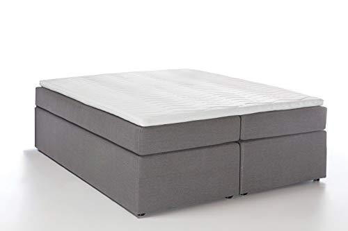 Möbelfreude® Boxspringbett Bella Hellgrau 160x200cm H3 inkl. Visco-Topper, 7-Zonen Taschenfederkern-Matratze, amerikanisches premium Bett Luxus Hotelbett Polsterbett Doppelbett King-Size