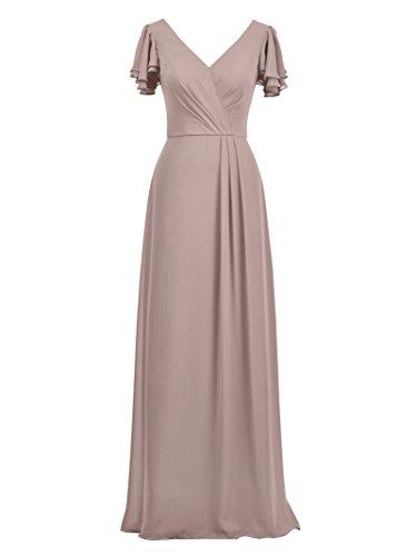 Alicepub Damen A-Linie Brautjungfernkleider Elegant Abendkleider Lang Kleider, Silbernes Rosa, 56