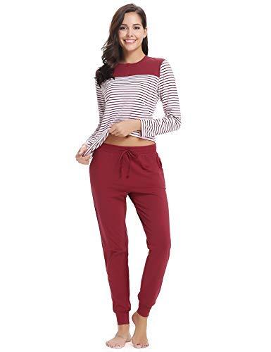 Aibrou Damen Schlafanzug Pyjama Set Lang Baumwolle Hausanzug Sleepwear Nachtwäsche Zweiteilig für Hebrst Winter Rot S