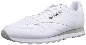Reebok Classic Leather - Zapatillas de cuero para hombre, color blanco (int-white/lt. grey), talla 43