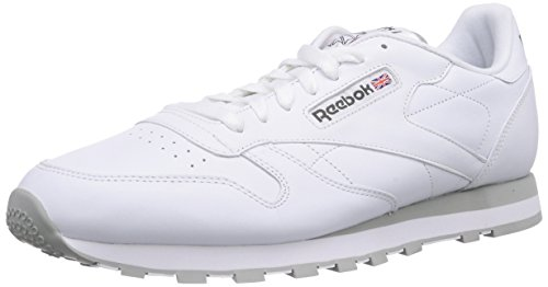 Reebok Classic Leather, Herren Sneakers, Weiß (Int-White/Lt. Grey), 44 (Weiss Schuhe Leder Herren)