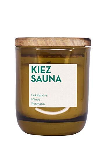 UpCandle aus Berlin - Duftkerze aus Rapswachs und natürlichen ätherischen Ölen in Recycling-Glas - Kiez Sauna (150 ml) -