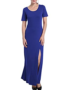 URqueen Womens Maxi Dress Short Sleeve Loose Casual Slit Long Beach Dress