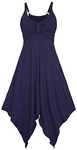 Chez BoBos Robe Femme Courte Asymétrique à Bretelles Décontractée Robe Casual Bleu