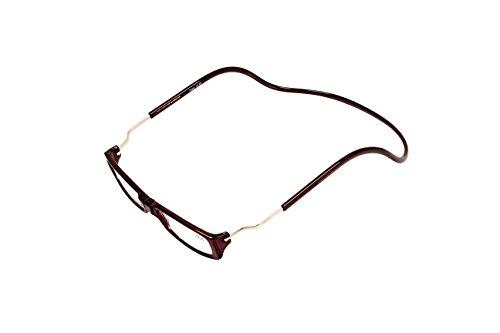 Gafas de lectura magnéticas de diseño con correa para el cuello para usar frente al ordenador. Su uso de noche reduce la tensión ocular. Con montura plegable, laterales ajustables y frente magnético. Unisex. … (+1.5, marrón)