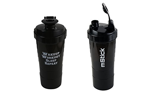 mStick 3 in 1 Protein Shaker Sports Gym Bottle 500 ml - Black  available at amazon for Rs.199