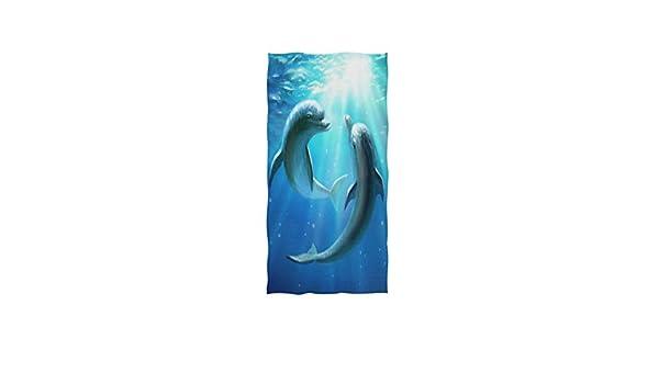 Mnsruu Serviette de bain douce Motif dauphin oc/éan 76 x 38 cm
