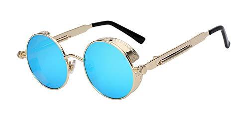 Daawqee Round Metal Sunglasses Steampunk Men Women Fashion Glasses Designer Retro Vintage Sunglasses UV400 Gold w blue mir