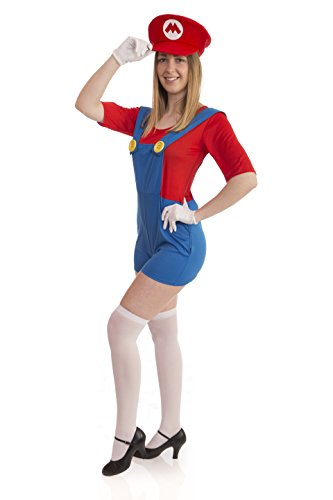 Instant Costumes Super Klempner Brüder Erwachsene Kostüm (Damengröße: 10-12, Rot - Womens Luigi Kleid Kostüm