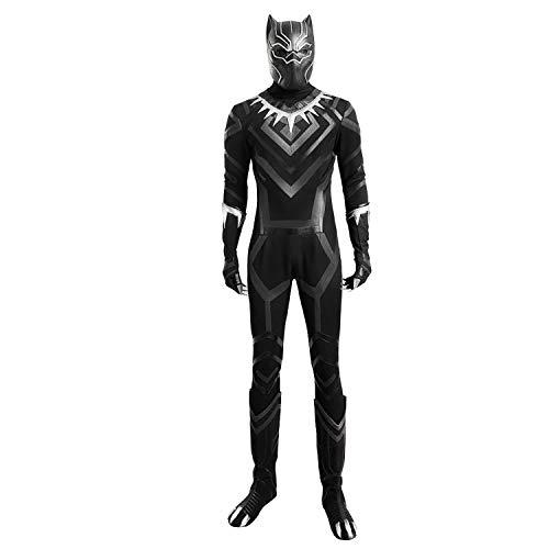 Uns Zentai Kostüm - QWEASZER Rächer Black Panther Zentai Strumpfhosen Panther Cosplay Kostüm Onesies, Handschuhe, Stiefel, Maske Halloween Film Kostüm Kostüm Requisiten,Black-L