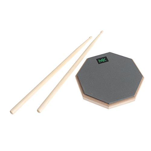 ultnice 20,3cm Gummi Holz Drum Schlagzeug Practice Pads leise üben Training mit Ein Paar Drumsticks für Drummer Anfänger (grau)