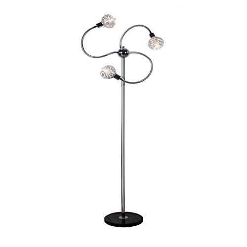Aluminium-finish-tisch-lampen (Hochwertige Stehleuchte Triple Head Flexible Stehlampe, Aluminium Lampenschirm, Eisen Lampenkörper In Silber Finish, Black Marble Base, Höhe 53,19