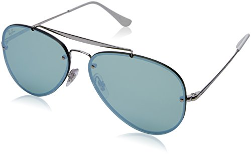 RAYBAN JUNIOR Unisex-Erwachsene Sonnenbrille Blaze Aviator, Silver/Darkgreenmirrorsilver, 58