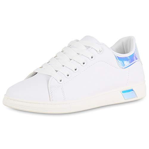 SCARPE VITA Damen Sneaker Low Leder-Optik Turnschuhe Schnürer Freizeit Schuhe 176619 Weiss Blau Metallic 37