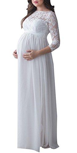 Foluton Schwangerschafts Kleid Chiffonkleid Maxi Spitzenkleid Elegant Damen Schwangere Frauen 3/4...