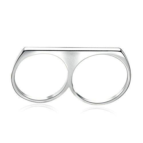 Daesar Gioielli Placcato Oro Anelli Donna Anello di fidanzamento Rotondo Cerchio Lucidato Argento Dimensioni:17