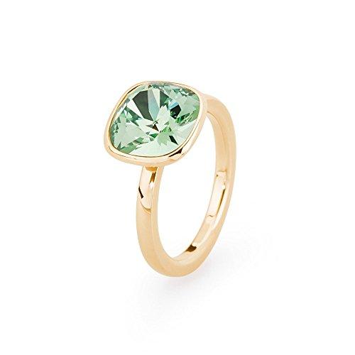 Brosway anello donna in acciaio/pvd giallo con cristallo verde, linea tring color edition, taglia 18, 5 grammi