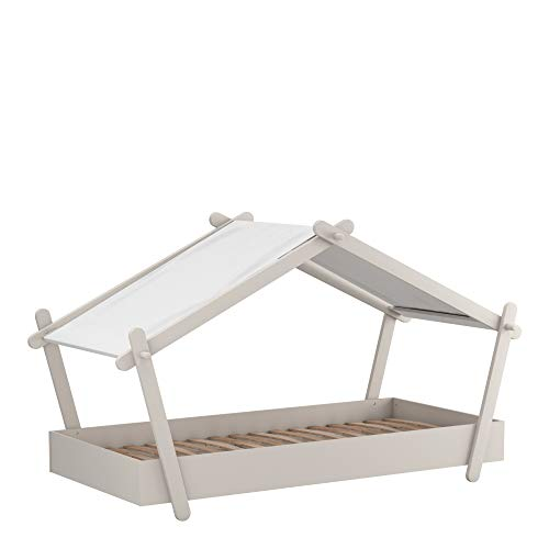 Demeyere - Cama Individual - Formato de cabaña Tipi-Ideal para la habitación de tu niño - Colección Lodge, Gris Claro, 102,2 x 223,2 x 129,7 cm