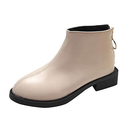 Dragon868 scarpe donna pelle, stivali eleganti polacchine con cerniera suola in gomma 35-40 invernali