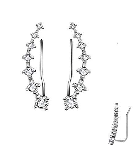 Mydio 1 par pendientes cristal gancho oreja, plata