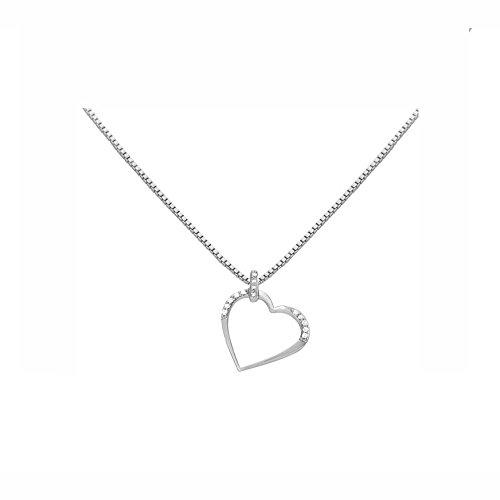 Or Blanc 9 ct Pendentifs Diamant , 0.15 Ct Diamant, GH-SI, 2.19 grammes.