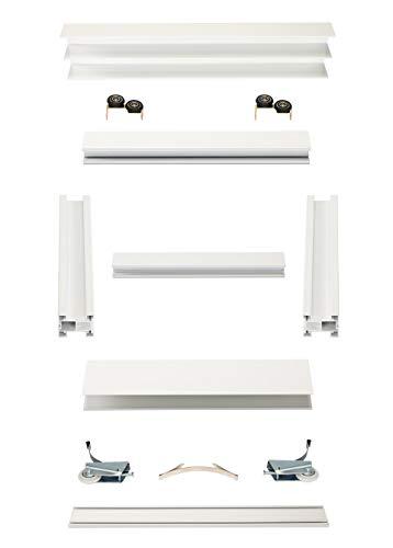 Schiebetürbausatz inkl. Weiß lackiertem Rahmentyp A | Inkl. Beschläge für 2 Türen, max. Flügelmaße: 1068 x 2750 mm | Füllung kommt von Ihnen | Weiß lackierte Boden- und Deckenschiene in 2000 mm -