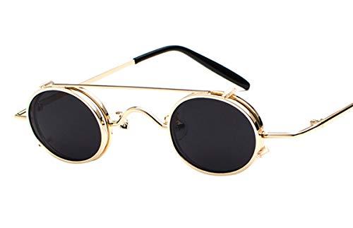 Tiadi Sonnenbrillen Metalllegierung HD Objektiv Vintage Sonnenbrille Runde Verspiegelt kleine ovale Cool Festival Fashion Vintage-Stil Rechteckig