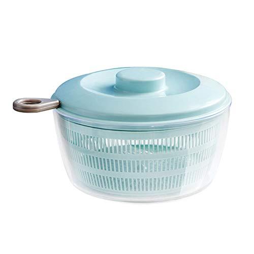 Salatschleuder Groß, Salattrockner Kunststoff BPA Frei Salat Trockner mit Ablaufsieb für Das Wasser und Einer Salatschüssel Effektives und Einfaches Schleudern Dank Ziehgriff, Blau
