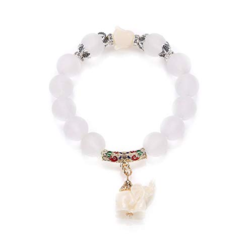 Mengonee Mujeres Niñas elefante colgante de la pulsera de cristal pulsera de...