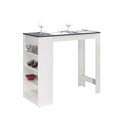Symbiosis-8080A2198X00-Contemporain-Table-Bar-avec-Rangements-Blanc-mat-Bton-115-x-50-x-1027-cm