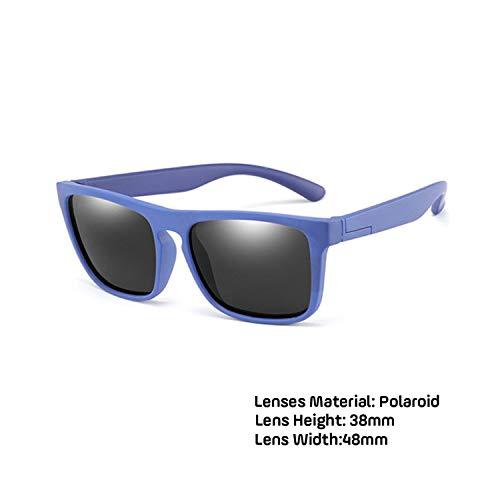 Sportbrillen, Angeln Golfbrille,Children Square Polarisiert Sunglasses Kids Silicone Safe TR90 Sun Glasses Girls Boys UV400 Coating Mirror Gafas De Sol blue gray