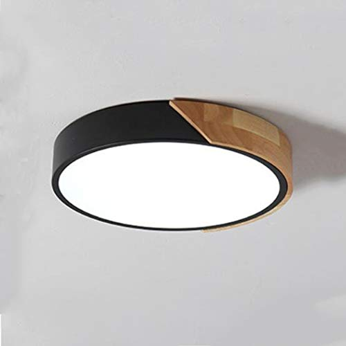 YJFFAN Ultradünne Macaron Round Ceiling Lampe Modern Minimalist Solid Wood LED Ceiling Light Acryl Ultra-dünne Hängende Lampenfix für Wohnzimmerbeleuchtung Home Light Black,3Colors,50CM