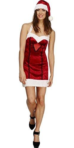 Damen Fever Miss Sexy Santa Weihnachten Mrs Claus festlich Kostüm Kleid Outfit - Rot, 16-18