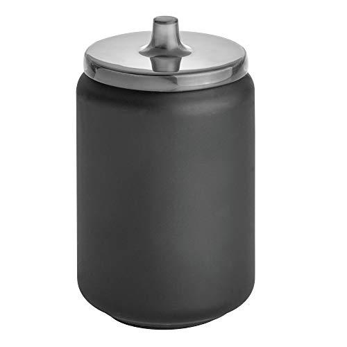 Idesign austin portatrucchi da bagno, porta make up e accessori rotondo in metallo con coperchio, opaco, nero, 8.9 cm di diametro x 14.6 cm