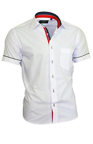 Binder de Luxe Herren Hemd Shirt modern fit mit Brusttasche Kurzarm Kentkragen 840 weiß M 40 (Kurzarm-freizeithemd)