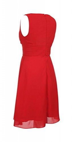 My Evening Dress- Robe de Soirée Col en V en Mousseline de Soie pour Cocktail et Fête Rouge