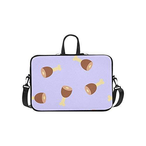 Laptop Umhängetasche Umhängetasche Tasche Notebook Griff Ärmel Neopren Soft Carring Tablet Reisetasche, Muster Schinken auf lila Laptop Handtaschen 14